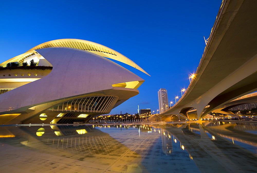El Palau de les Arts Reina Sofia (Opera House and performing arts centre) at night, the City of Arts and Sciences (Ciudad de las Artes y las Ciencias), Valencia, Spain, Euruope