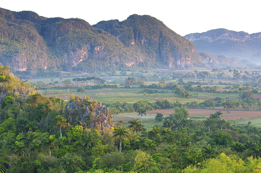 The Vinales Valley, UNESCO World Heritage Site, bathed in early morning sunlight, from Hotel Los Jasmines, Vinales, Pinar Del Rio, Cuba, West Indies, Caribbean, Central America