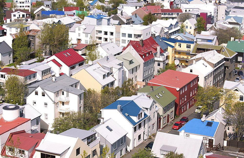 Colourful buildings in downtown Reykjavik seen from the top of Hallgrimskirkja, Reykjavik, Iceland, Polar Regions
