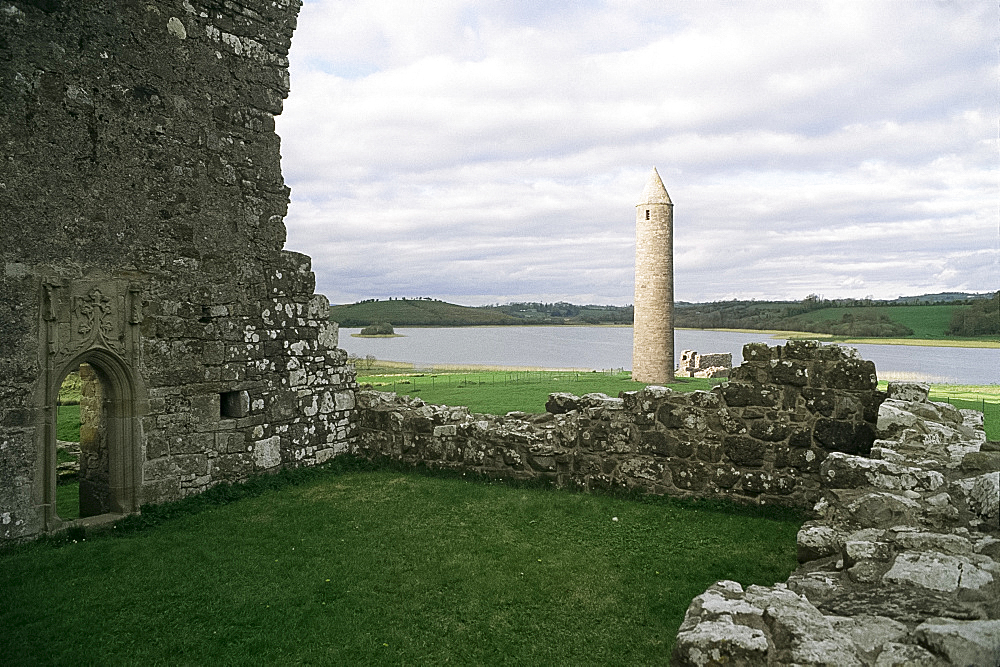 Early Christian buildings, Devenish Island, County Fermanagh, Northern Ireland, United Kingdom, Europe