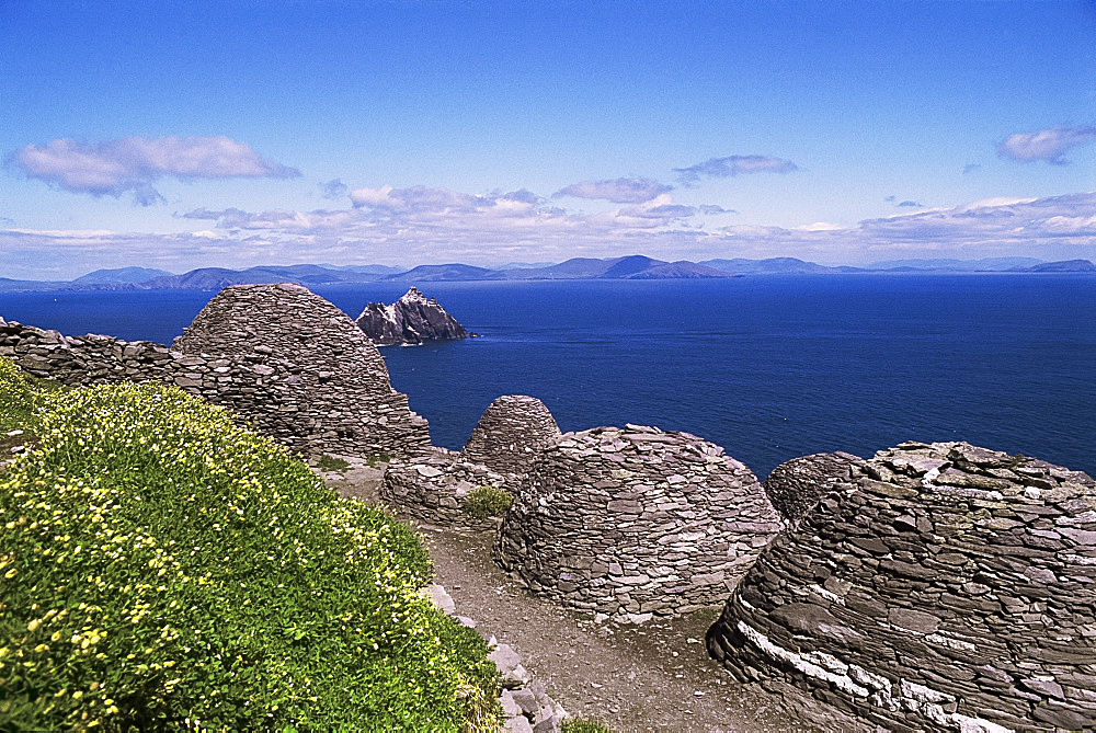 Early Christian settlement, Skellig Michael, UNESCO World Heritage Site, County Kerry, Munster, Eire (Republic of Ireland), Europe