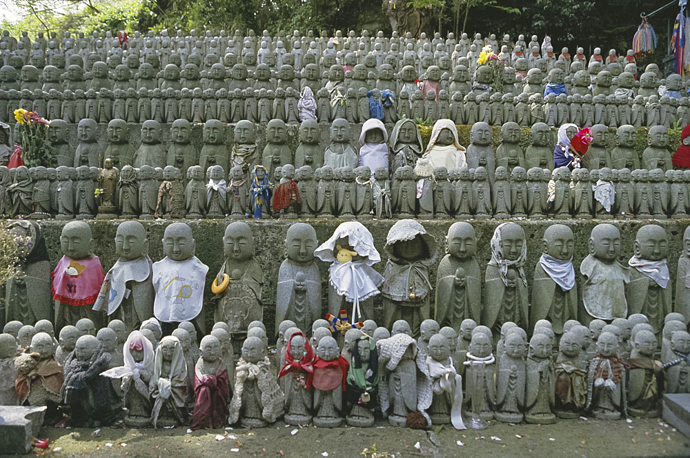 Rows of statues, Hasedera temple, Hase, Japan, Asia