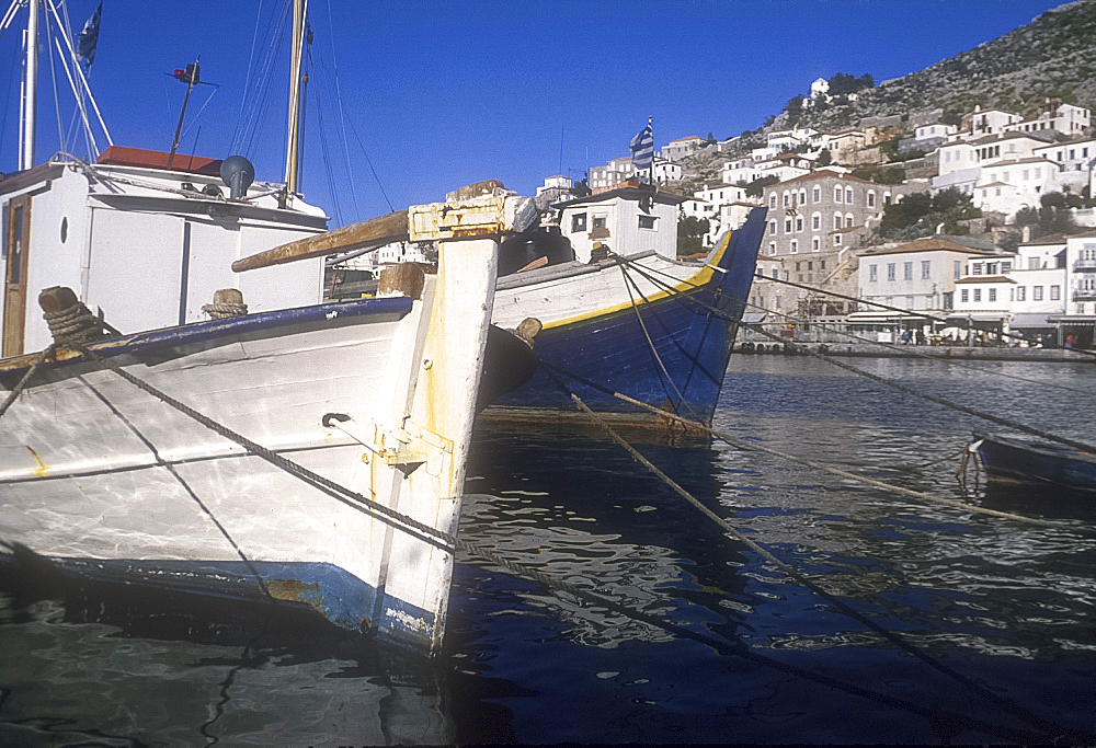 Boats in harbour, Hydra, Greece *** Local Caption ***