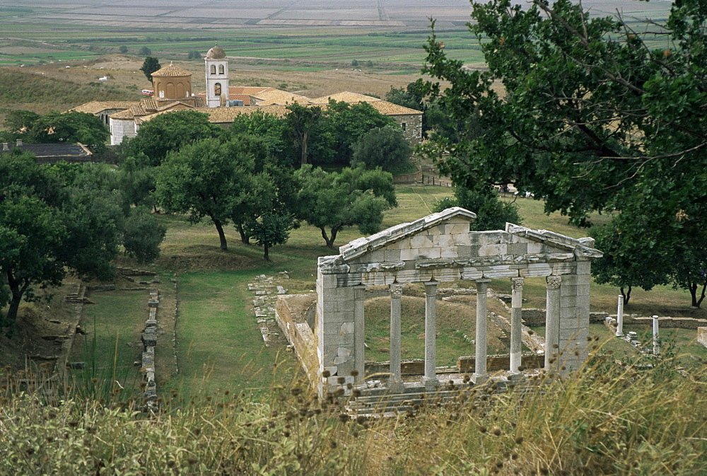 The Boulenterion with church of Shenmri in background, Apollonia, Albania, Europe