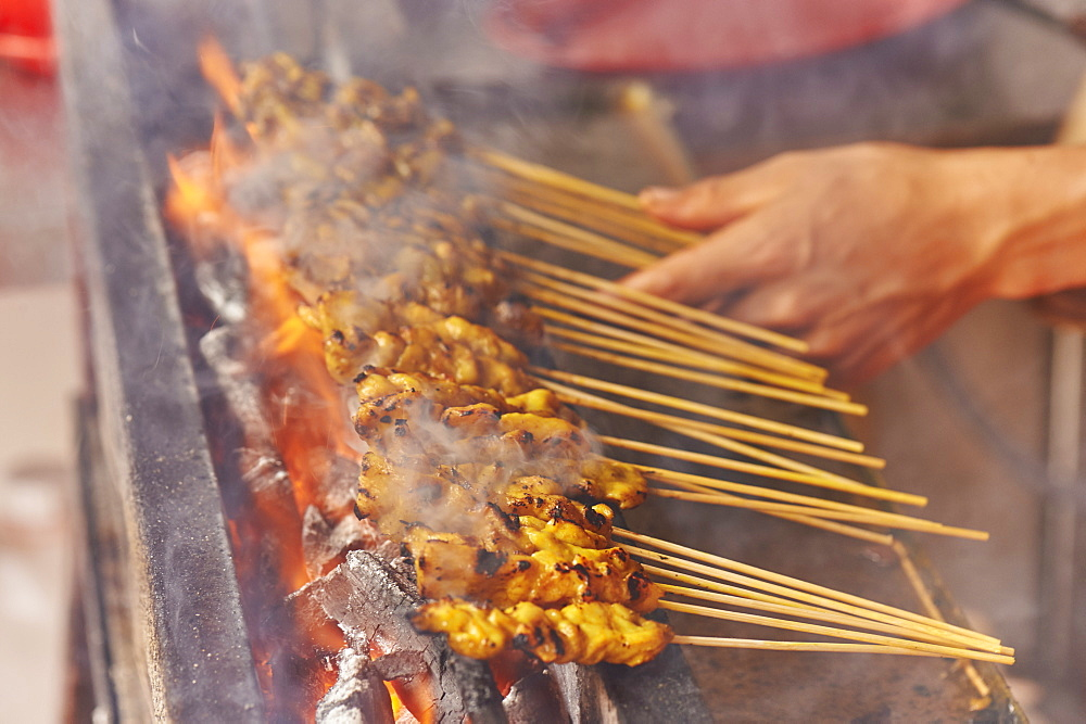 Detail, chicken satay cooked at street market, Chinatown, Malacca, Malaysia, Southeast Asia, Asia - 358-583
