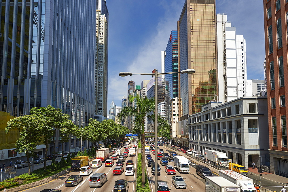 View of business district from Hennessy Road, Wan Chai, Hong Kong, China, Asia - 358-638