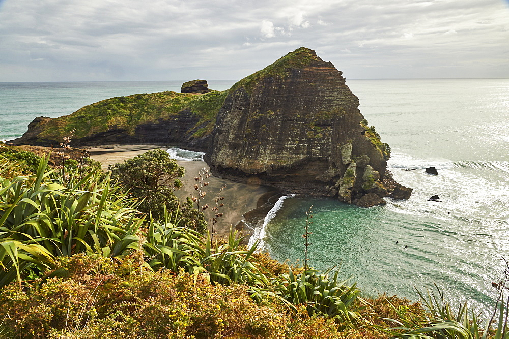 The surfers' paradise and volcanic black sand beach at Piha, showing Lion Rock, a monolith housing many Maori carvings, Auckland area, North Island, New Zealand, Pacific - 358-658