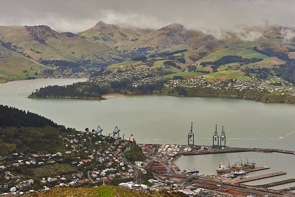 View of Lyttelton Harbour from summit of Christchurch Gondola, Heathcote Valley, Christchurch, Canterbury, South Island, New Zealand, Pacific - 358-665