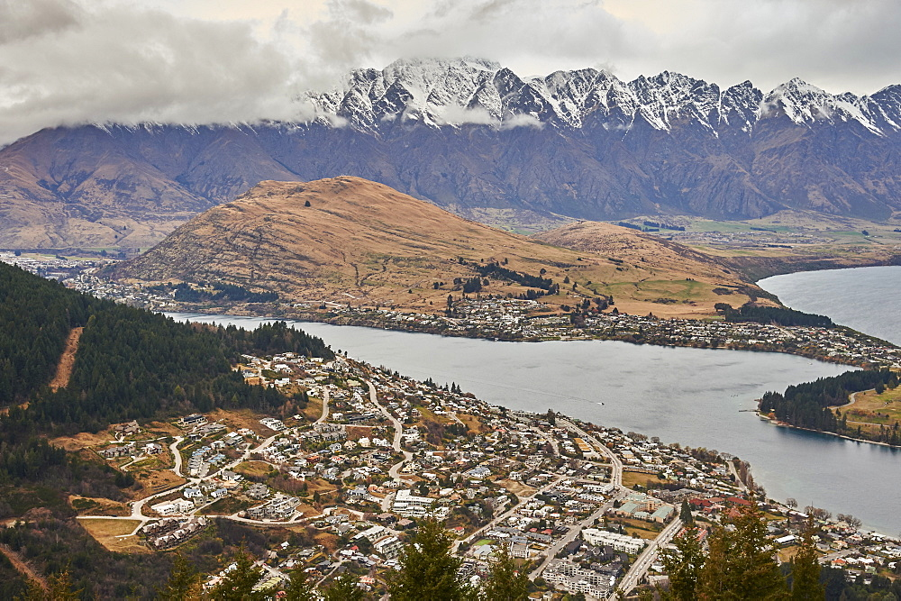 View over Queenstown, Lake Wakatipu and The Remarkables from Ben's Peak, Queenstown, Otago, South Island, New Zealand, Pacific - 358-685