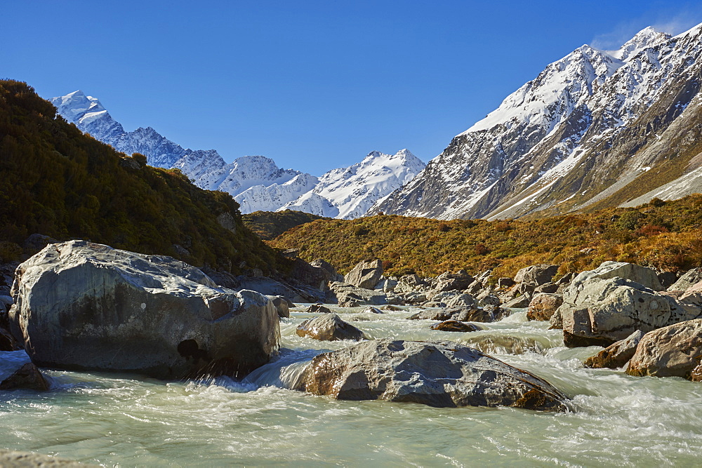 The Hooker River running off Mount Cook (Aoraki) from The Hooker Valley Track, Mount Cook National Park, UNESCO World Heritage Site, Southern Alps, South Island, New Zealand, Pacific - 358-689