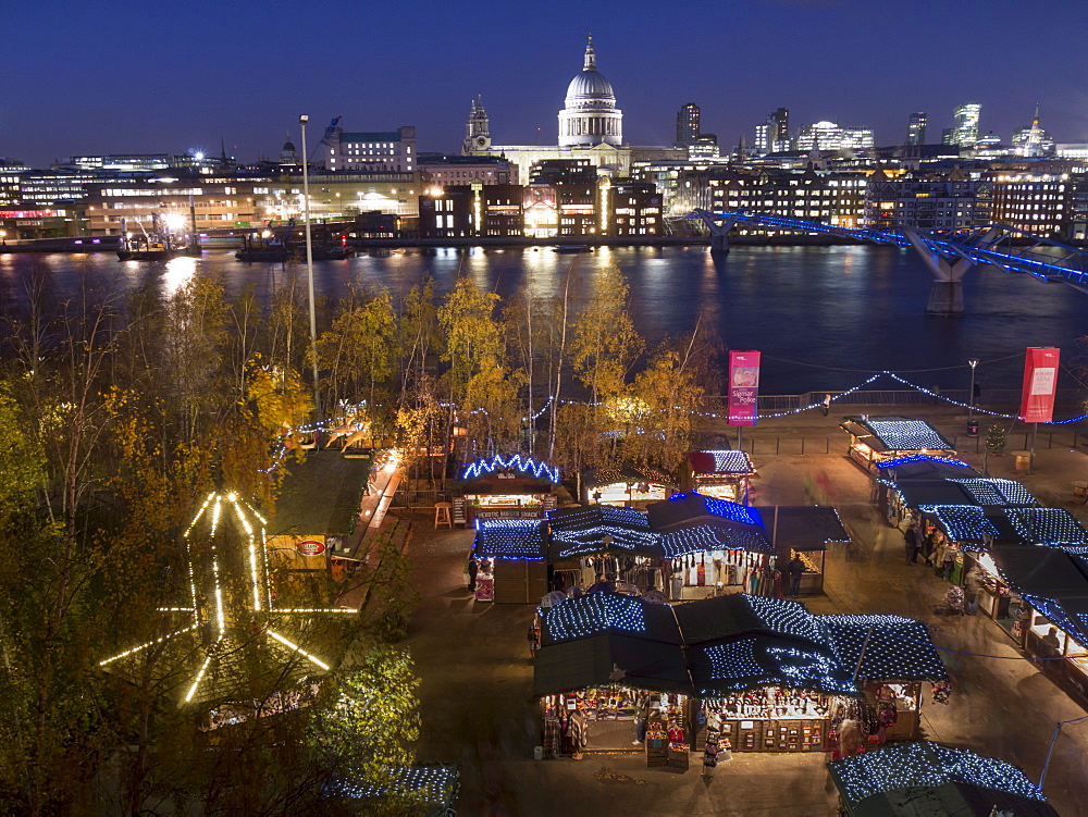 Christmas market with St. Pauls and Millennium Bridge, with City skyline dusk, London, England, United Kingdom, Europe  - 367-6009