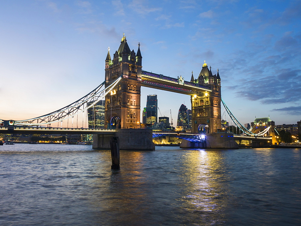 Tower Bridge and River Thames at twilight, London, England, United Kingdom, Europe