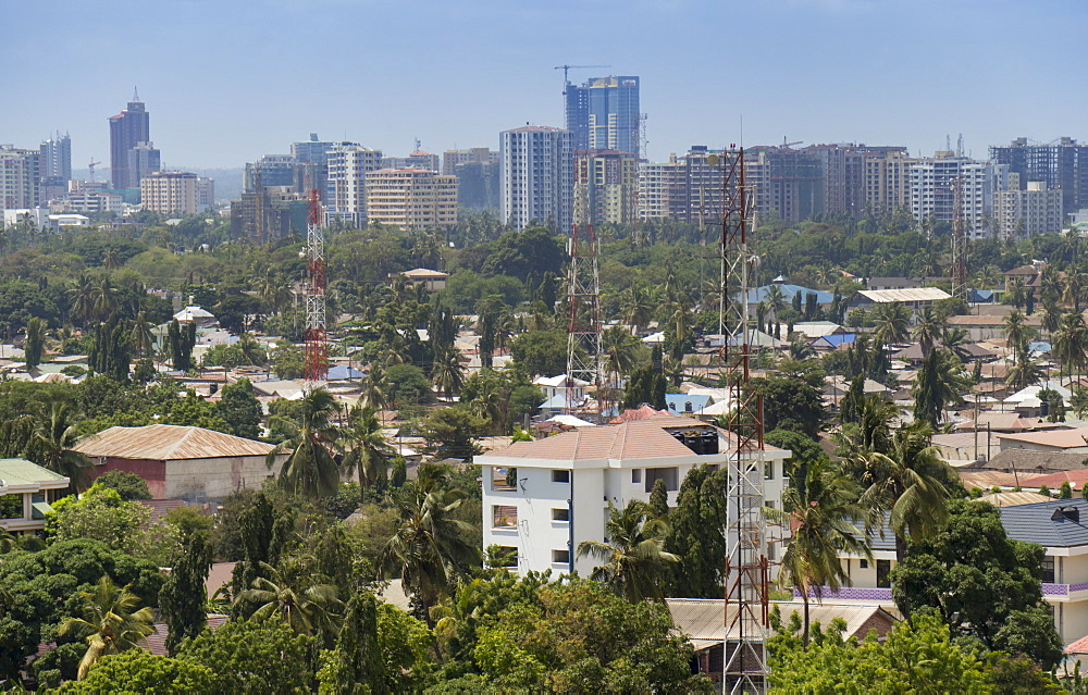 City skyline from suburbs, Dar es Salaam, Tanzania, East Africa, Africa