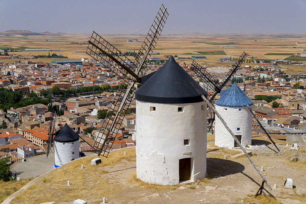 Don Quixote windmills and town, Consuegra, Castile-La Mancha, Spain, Europe