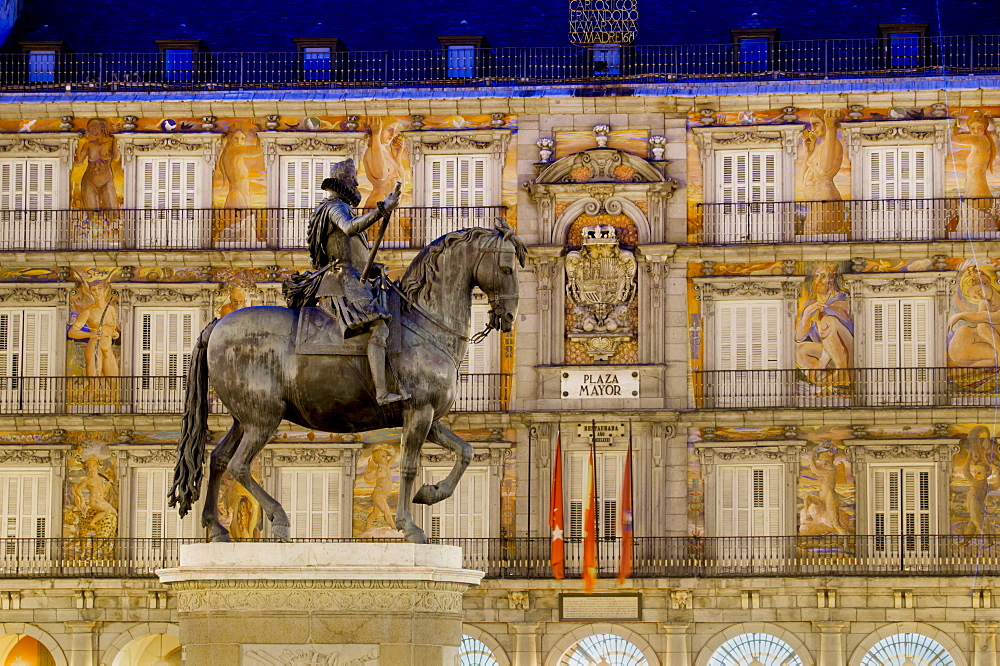 Plaza Mayor statue of Philip III, Madrid, Spain, Europe