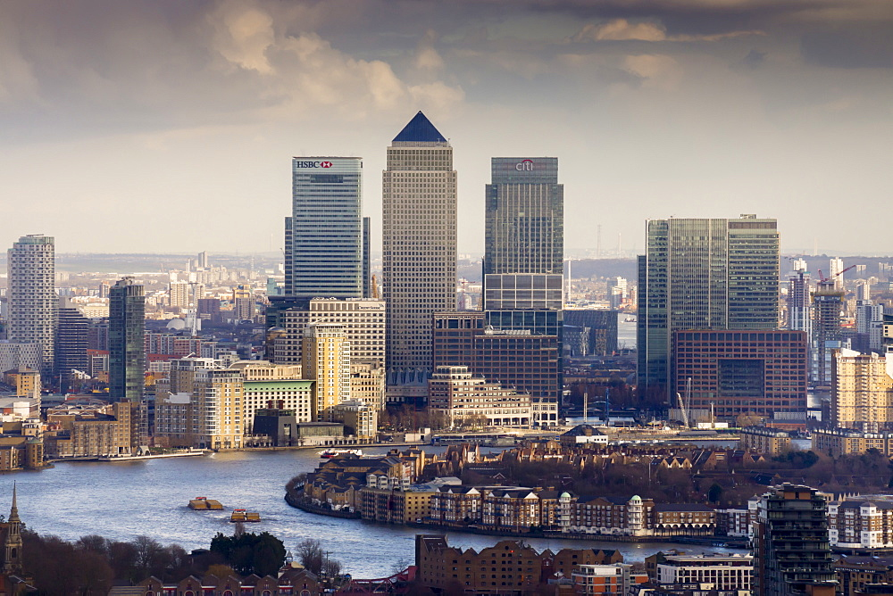 Moody view of Canary Wharf, Docklands, from above, London, England, United Kingdom, Europe - 367-6083