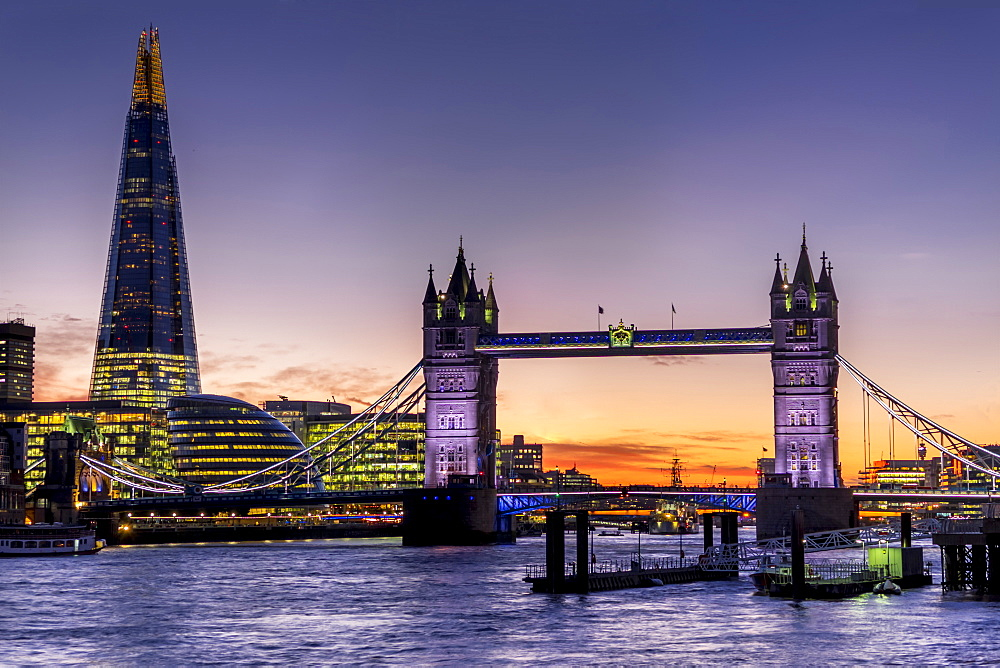 The Shard with Tower Bridge and River Thames at sunset, London, England, United Kingdom, Europe - 367-6084