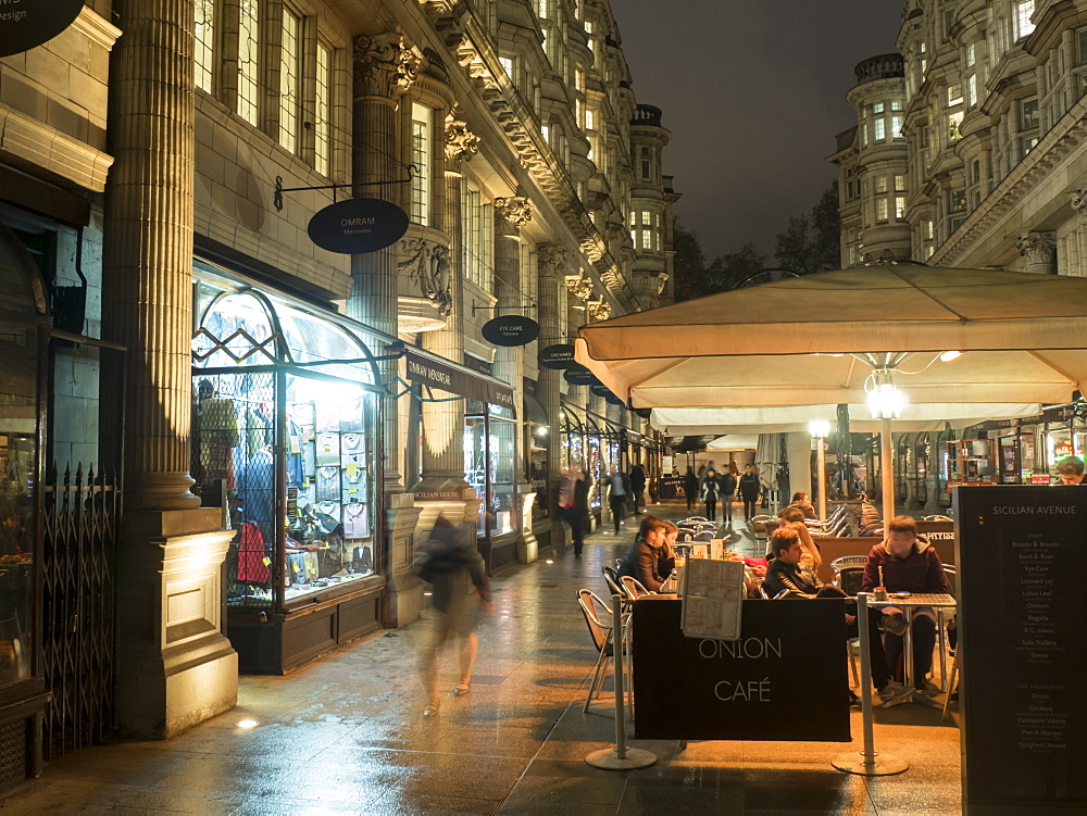 Sicilian Avenue at night, London, England, United Kingdom, Europe