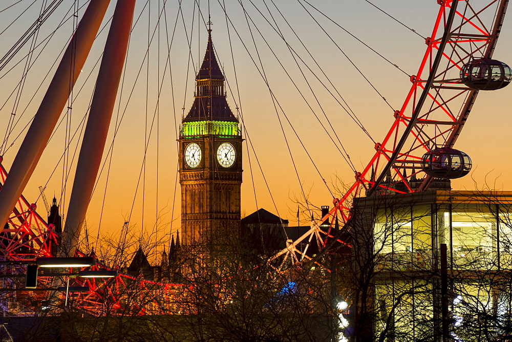 London Eye (Millennium Wheel) frames Big Ben at sunset, London, England, United Kingdom, Europe - 367-6088
