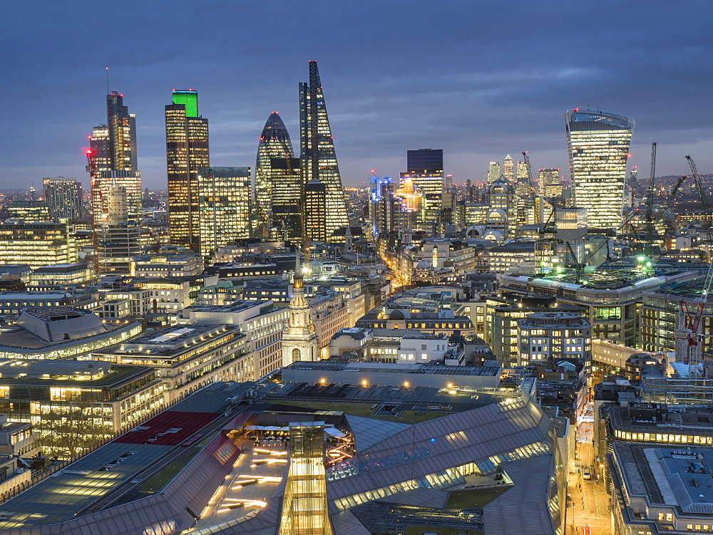 City of London skyline at dusk, London, England, United Kingdom, Europe - 367-6095