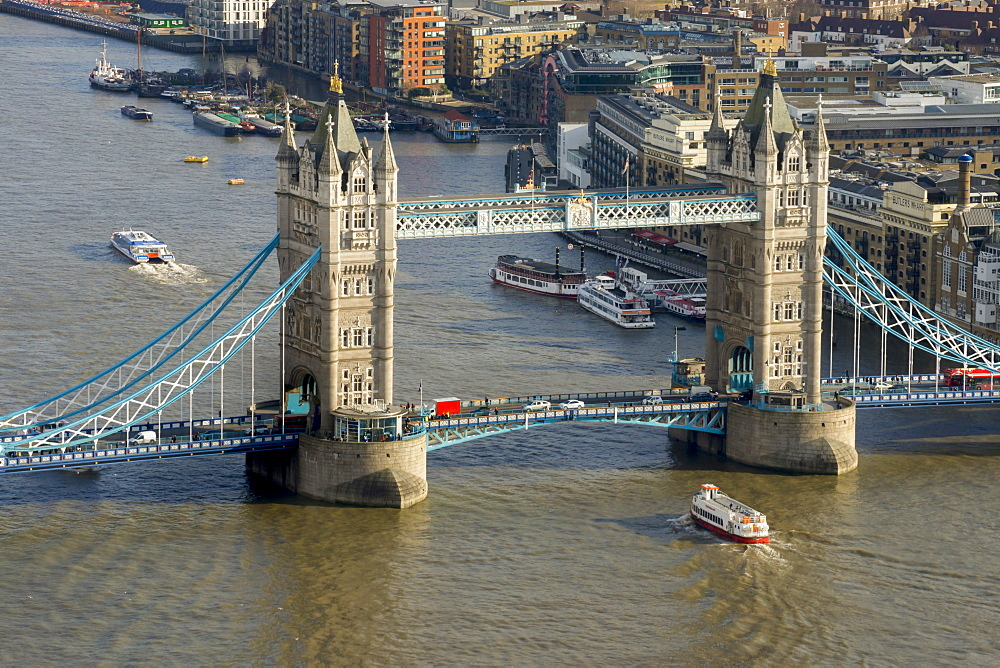 Aerial view of Tower Bridge and River Thames, London, England, United Kingdom, Europe - 367-6125