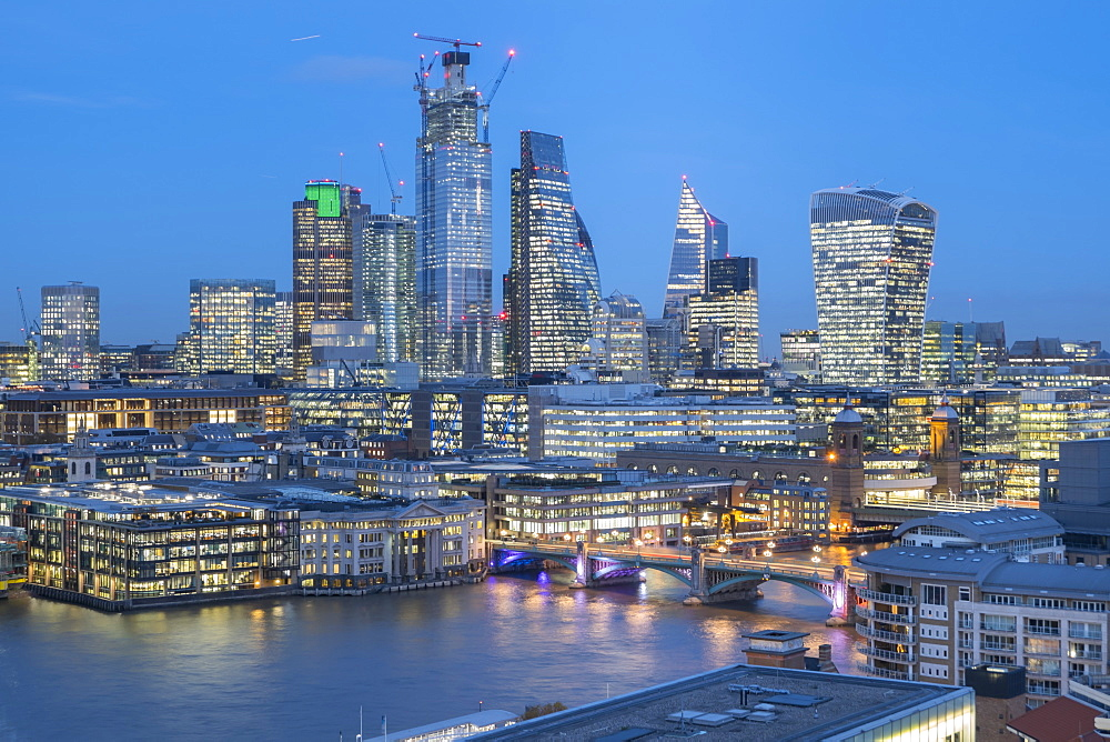 City of London skyline from The Tate, London, England, United Kingdom, Europe