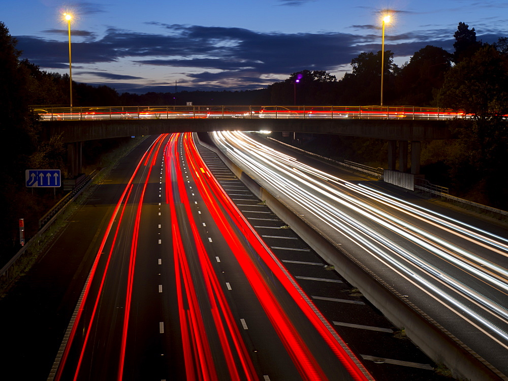 M3 motorway light trails, Surrey, England, United Kingdom, Europe