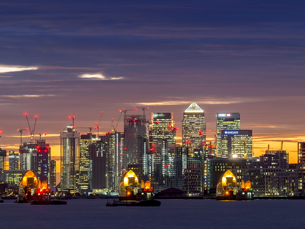 Canary Wharf from Woolwich at sunset, London, England, United Kingdom, Europe