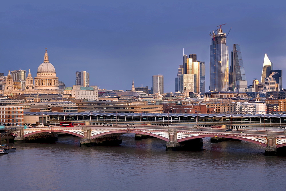 Skyline of St. Pauls Cathedral, the City of London and Blackfriars Bridge over the River Thames, London, England, United Kingdom, Europe