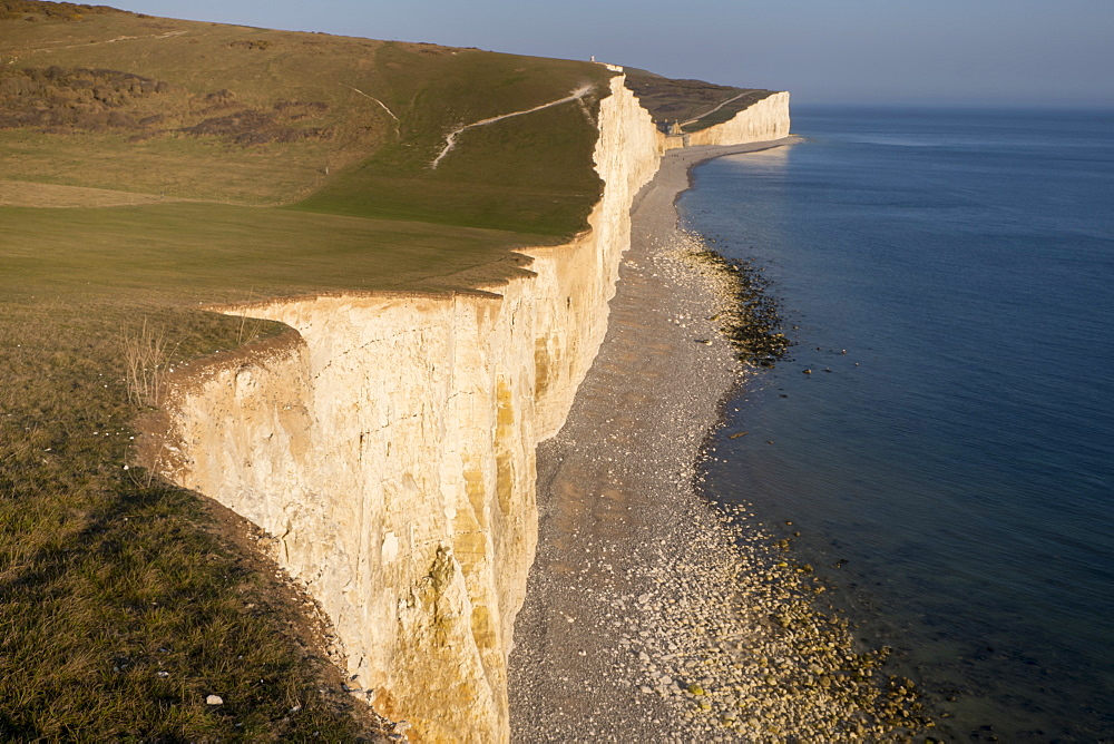 Seven Sisters chalk cliffs, South Downs National Park, East Sussex, England, United Kingdom, Europe - 367-6252