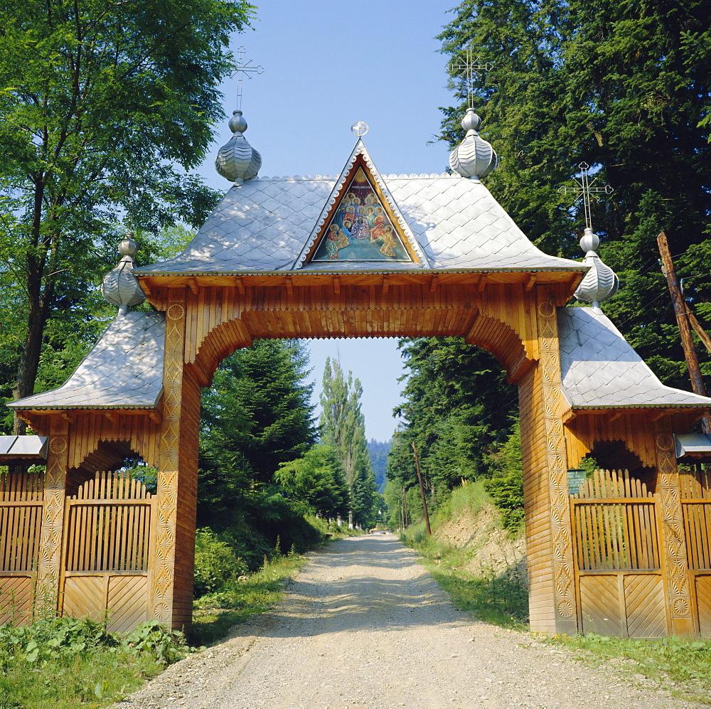 Typical Moldavian gateway, Horaita Monastery, Moldavia, Romania
