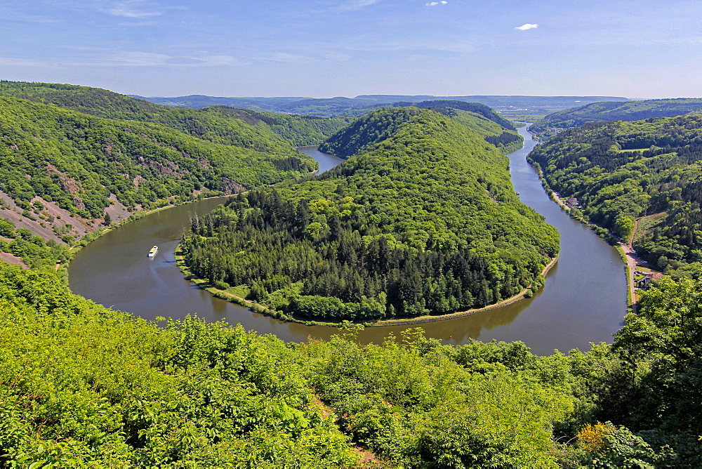 Big Loop of Saar River near Orscholz, Mettlach, Saarland, Germany