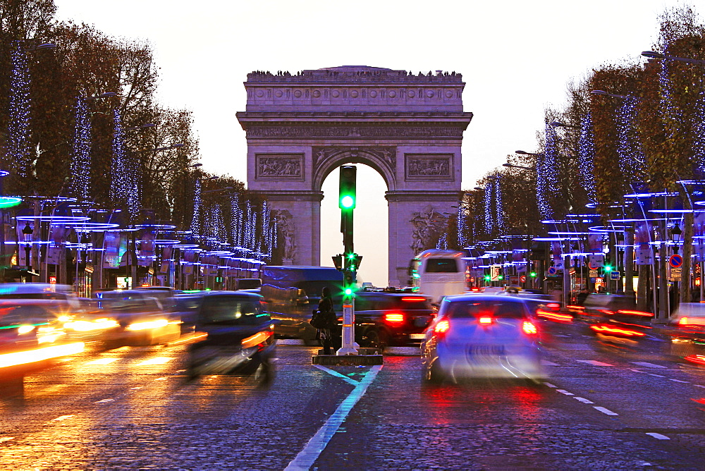 Champs Elysees and Arc de Triomphe at Christmastime, Paris, France, Europe