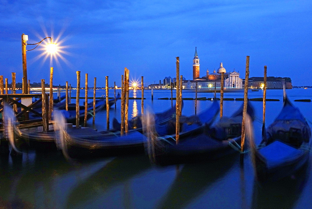 View towards the Island of San Giorgio Maggiore, Venice, UNESCO World Heritage Site, Veneto, Italy, Europe