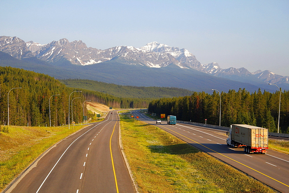 Transcanada Highway near Lake Louise, Banff National Park, Rocky Mountains, Alberta, Canada, North America
