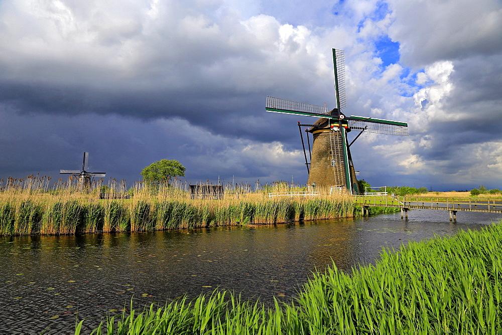 Windmills in Kinderdijk, UNESCO World Heritate Site, South Holland, Netherlands, Europe