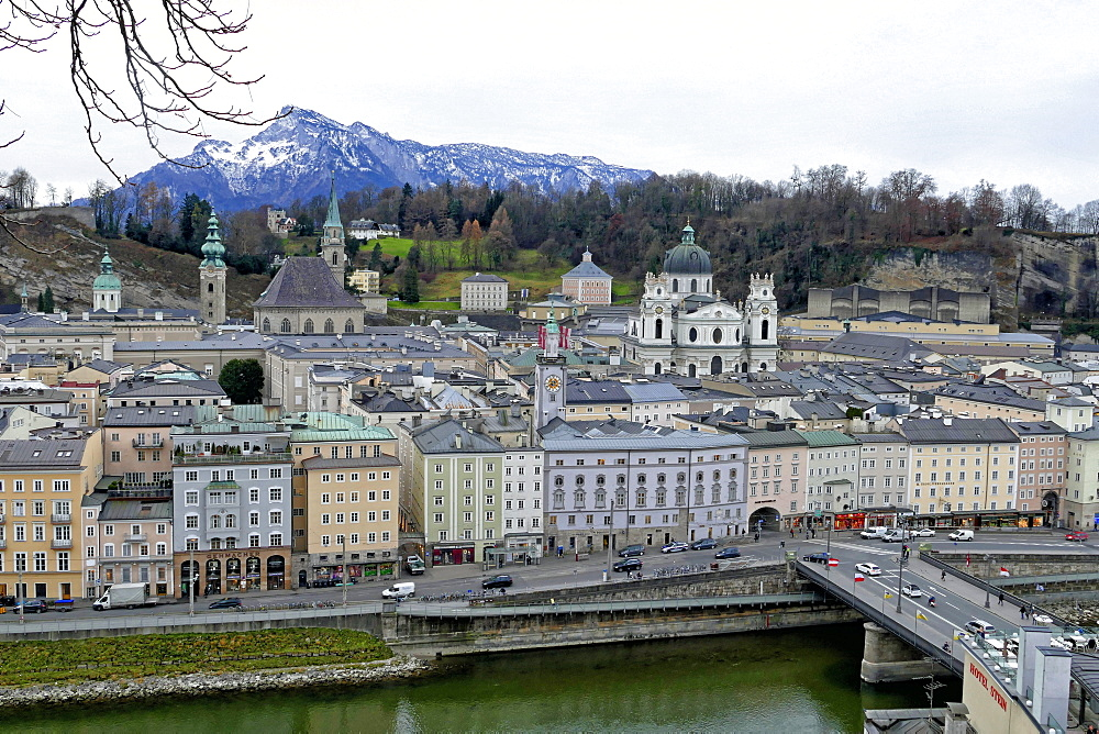 View towards the old town, Salzburg, Austria, Europe