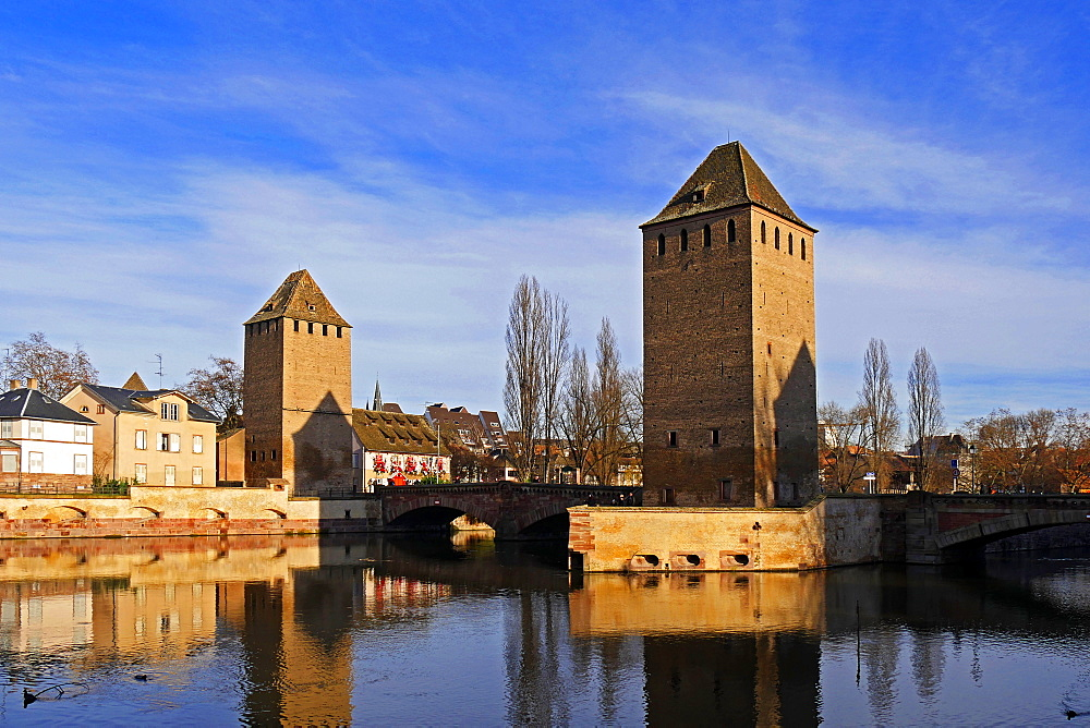 River Ill with Ponts Couverts and Strasbourg Cathedral, Strasbourg, Alsace, France - 396-5357