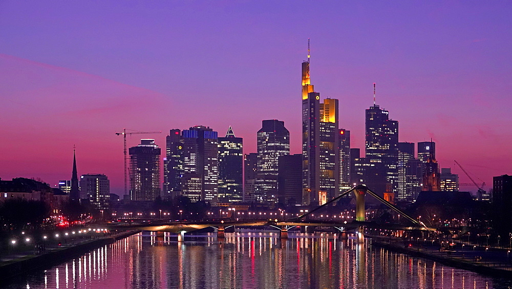 Main River and skyline of Frankfurt am Main, Hesse, Germany, Europe