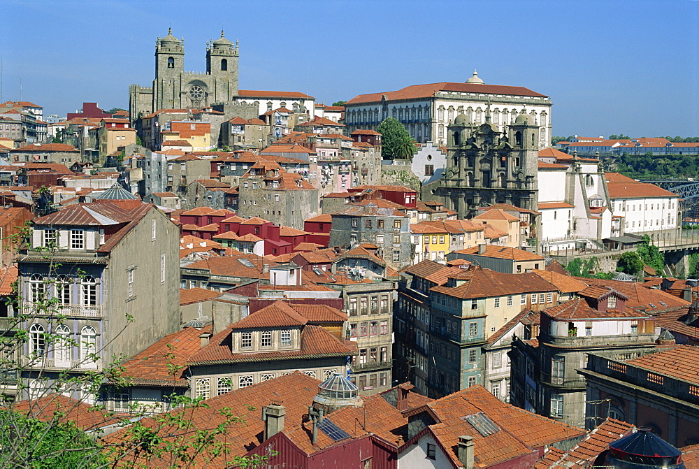 City skyline with houses, churches and cathedral above left, in Oporto, Portugal, Europe