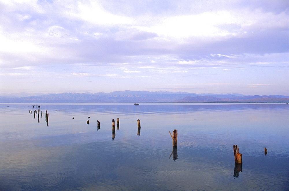Lake Issyk-Kul at Balikchi, Kyrgyzstan, Central Asia