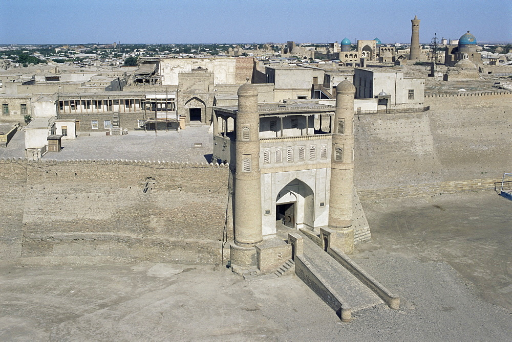 View over old city, the Ark, from water tower, Bukhara, Uzbekistan, Central Asia, Asia