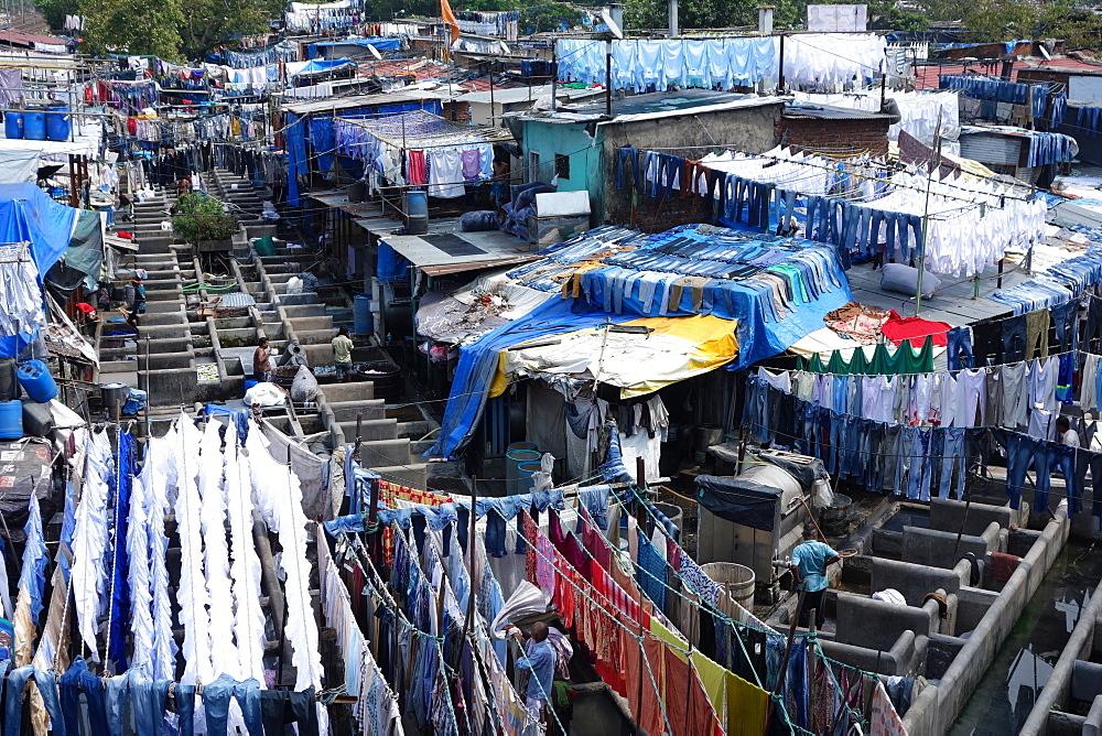 Slum washing ghats, Mumbai (Bombay), Maharashtra, India, Asia