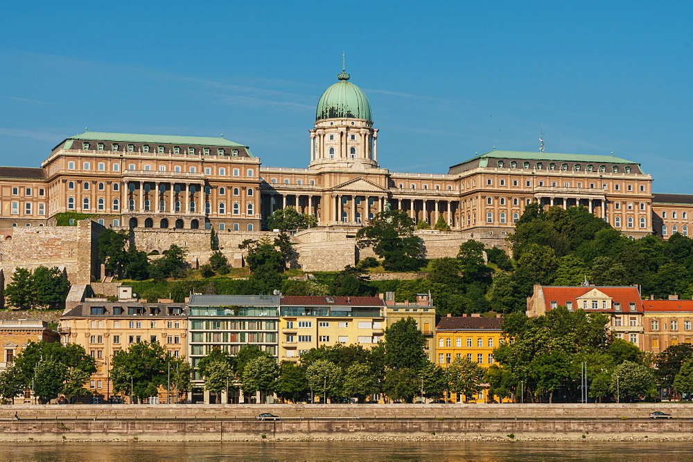 Facade of Royal Palace, UNESCO World Heritage Site, seen across the River Danube, Budapest, Hungary, Europe - 450-4226