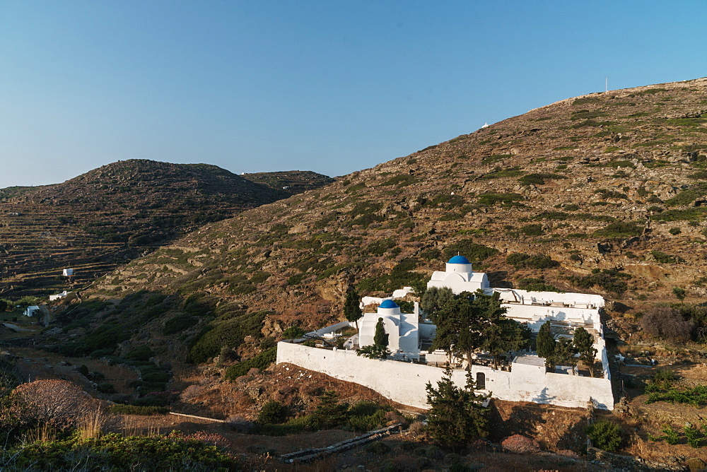 Kastro Village monastery and cemetery in the hills, Sifnos, Cyclades Islands, Greece