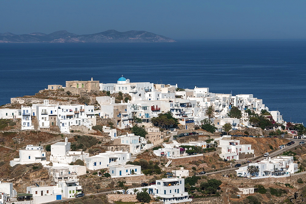 Aerial overview of Kastro Village, with island of Antiparos in background, Sifnos, Cyclades, Greek Islands, Greece, Europe - 450-4240