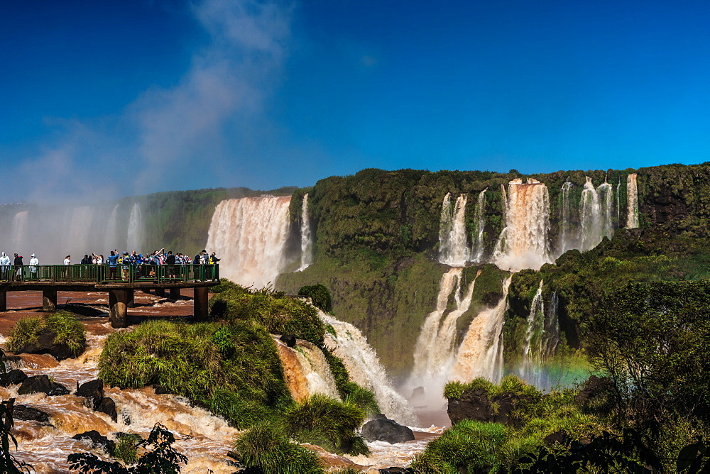 Visitors, drenched in spray, Garganta del Diablo (Devil's Throat), Iguazu Falls, UNESCO World Heritage Site, Iguazu, Brazil, South America - 450-4250