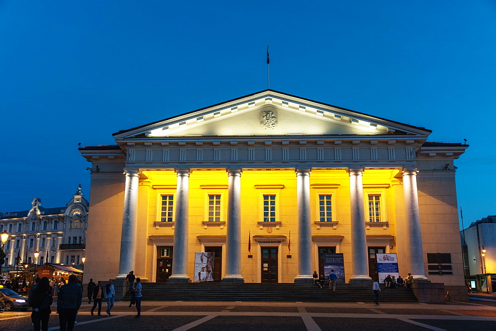 Floodlit neo-classical Town Hall, Old Town (UNESCO Heritage Site), Vilnius, Lithuania - 450-4293