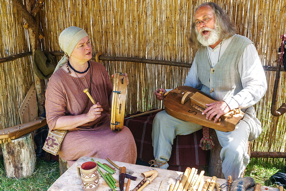 Lithuanian folk musicians at the International Festival of Experimental Archaeology, Kernave, Lithuania (two Model Releases) - 450-4297
