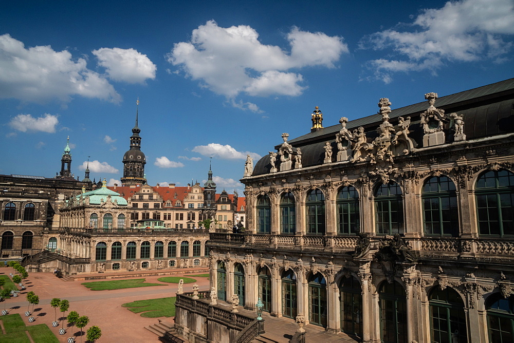 Internal courtyard of Zwinger Palace, completely rebuilt after World War 2 bombings, Dresden, Saxony, Germany, Europe - 450-4369